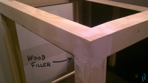 Wood filler covering screws and holes